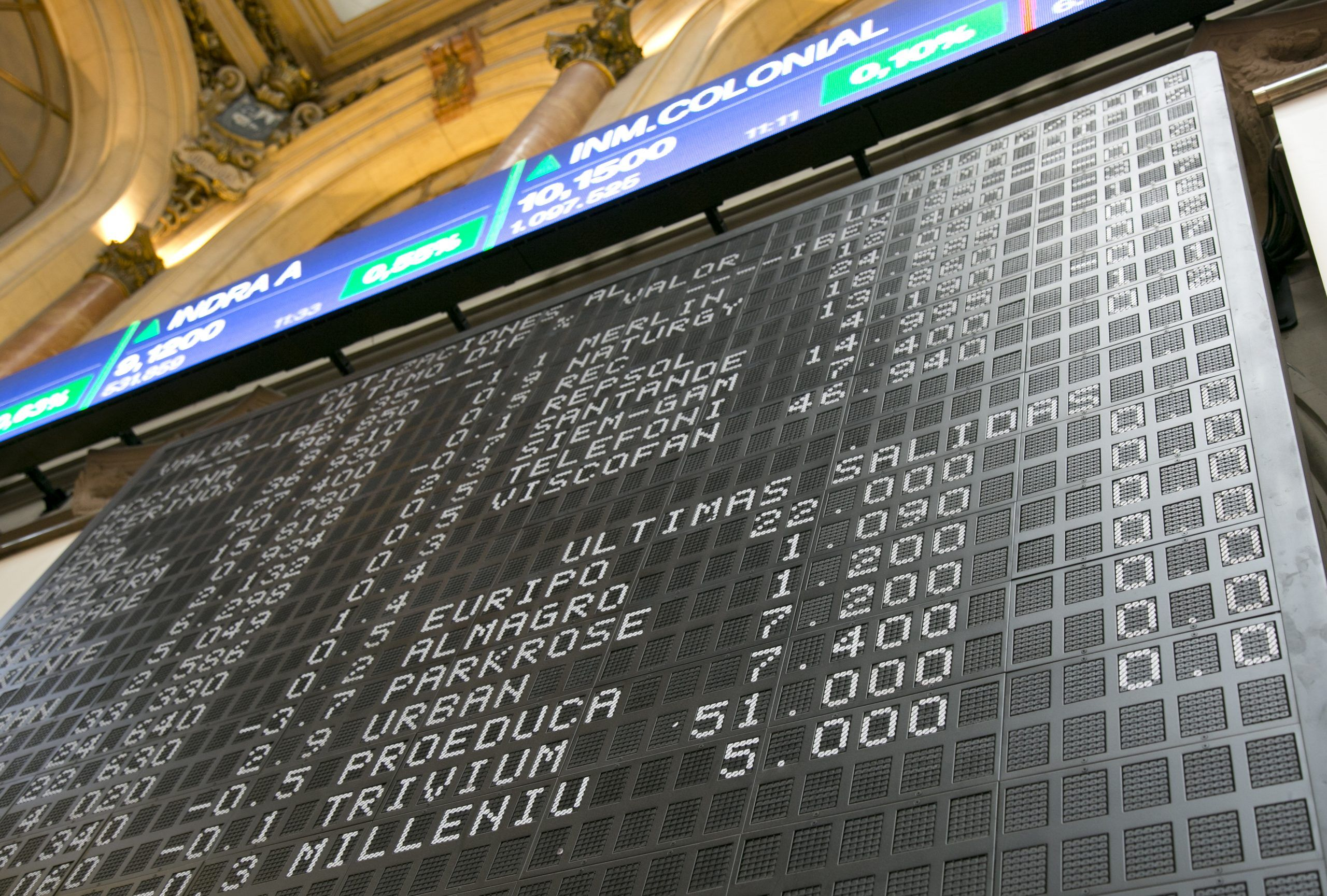 Bolsa Madrid pantalla salidas. Fuente BME scaled