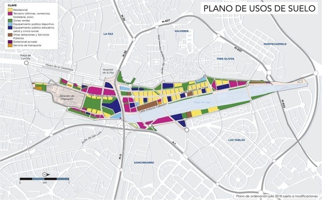 Plano usos Madrid Nuevo Norte