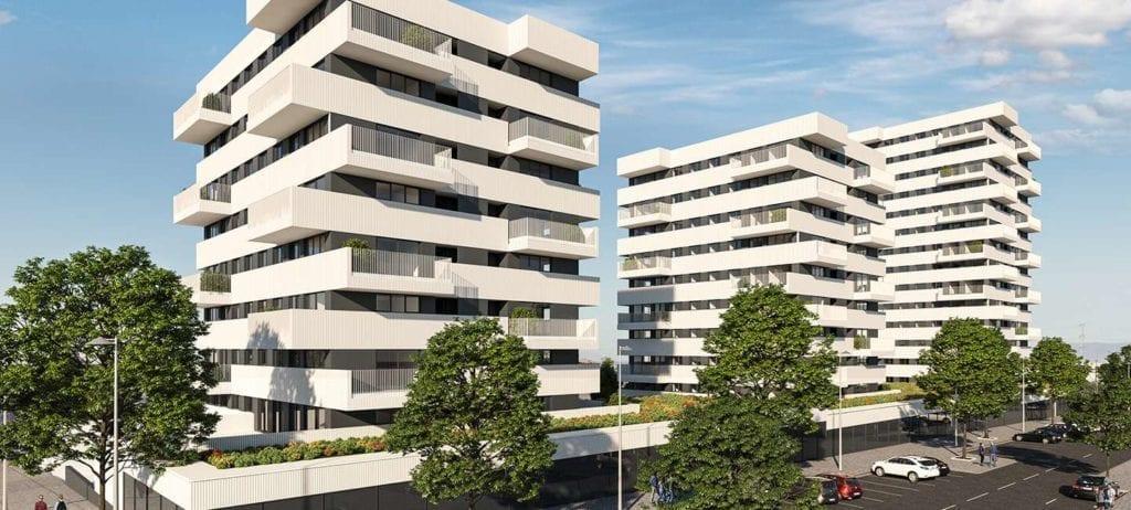 Recreación de la nueva promoción Tarsia de AEDAS Homes en Granada. 1024x462 1