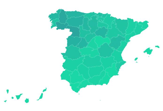 Mapa del envejecimiento de la población por provincias