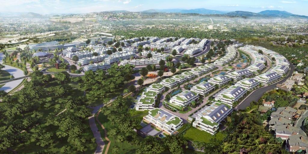 Recreación del futuro barrio de Montegancedo en Pozuelo de Alarcón.