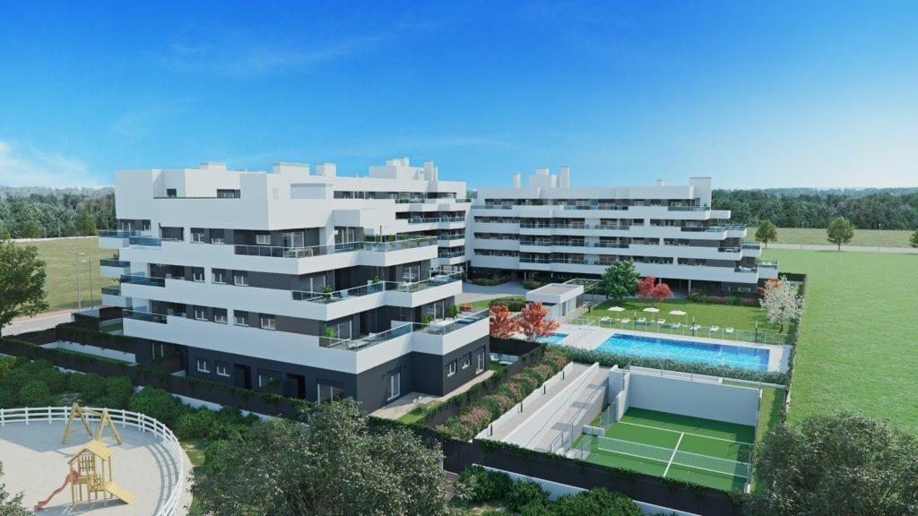Imagen de cómo será la promoción Orellana de AEDAS Homes en Alcalá de Henares. 1024x576 1 1