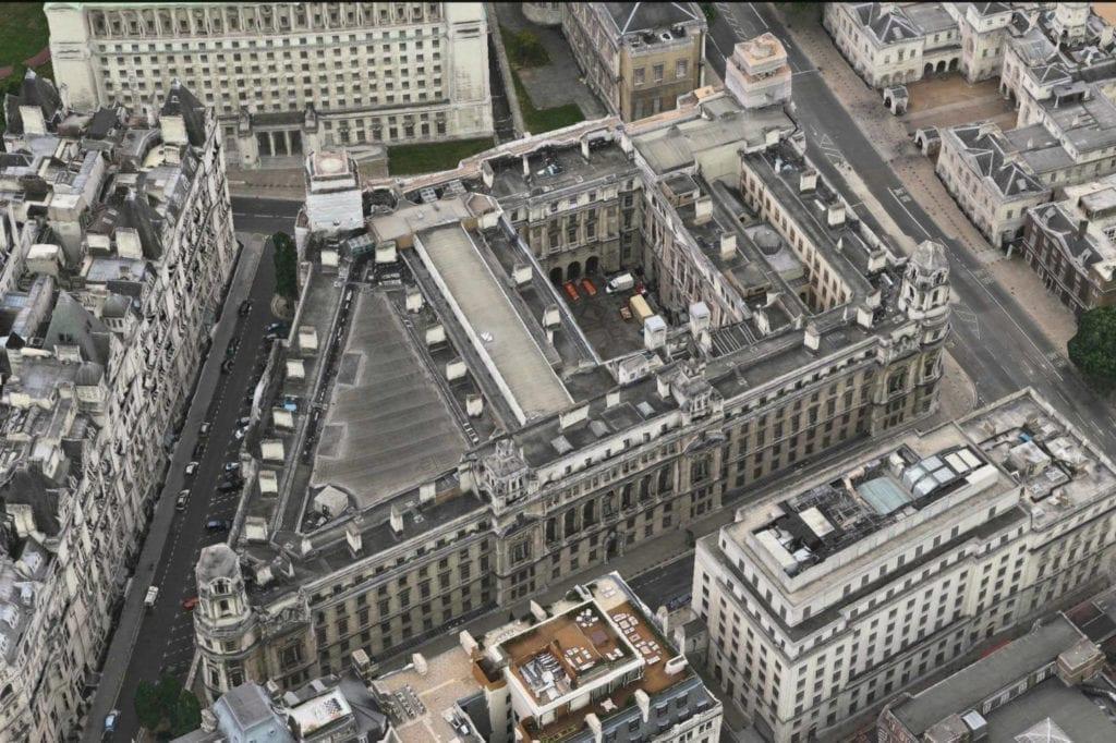 Vista aérea .del proyecto Old War Office, en el que participa OHL