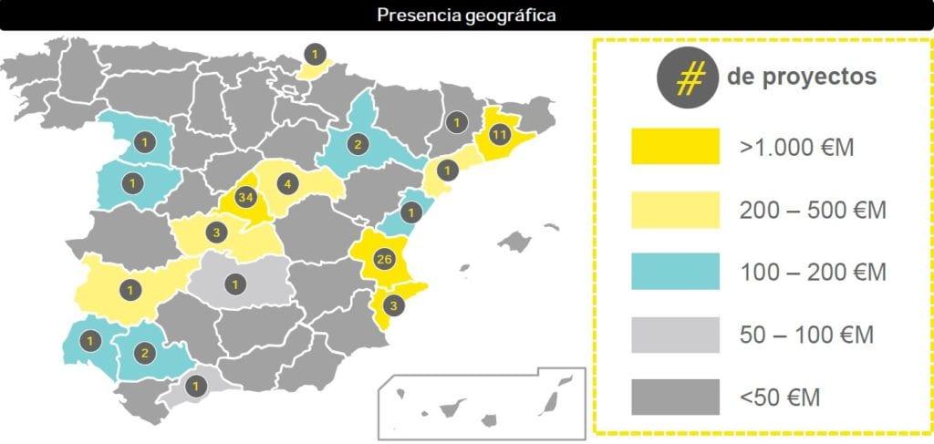 presencia geografica proyectos logisticos en espana segun EY