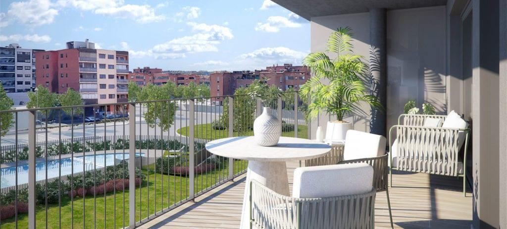 Terraza de las viviendas de la promocion Bayeu de AEDAS Homes en Zaragoza.