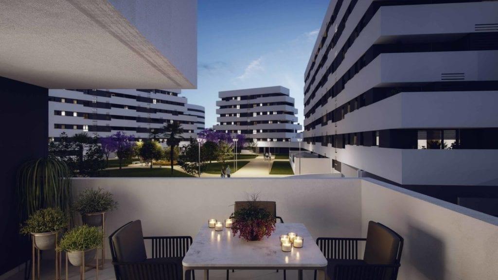 Terraza de una de las viviendas de la promocion Edificio Las Flores de AEDAS Homes en Sevilla