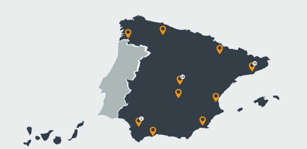 Lugares de España en los que Amazon cuenta con oficinas o almacenes logísticos