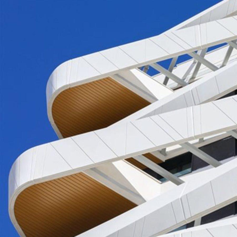 detalle de un edificio de vivienda nueva del estudio arquitectura Morph en mendez alvaro