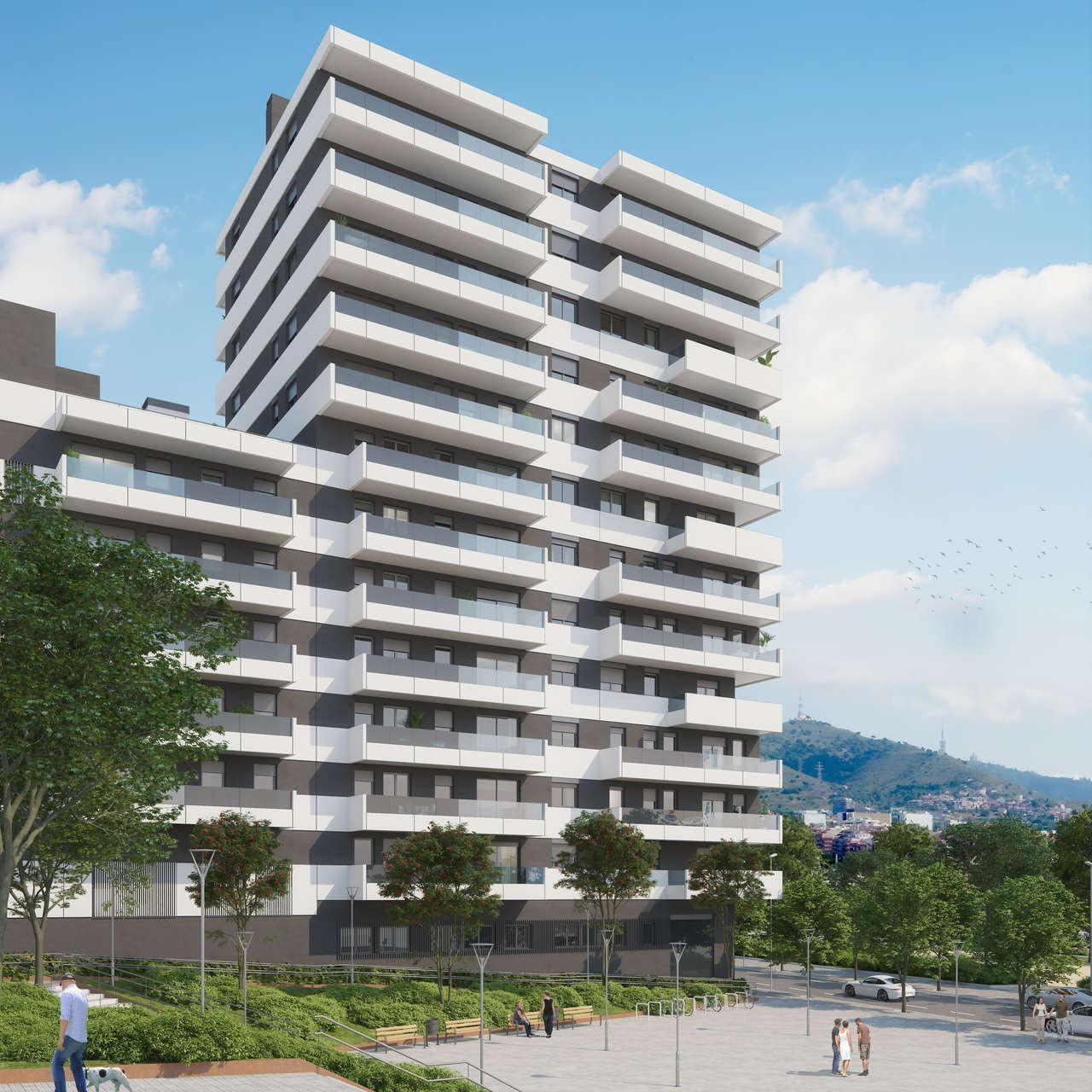Edificio de la promocion Torre Estronci 81 de AEDAS Homes en Hospitalet de Llobregat.