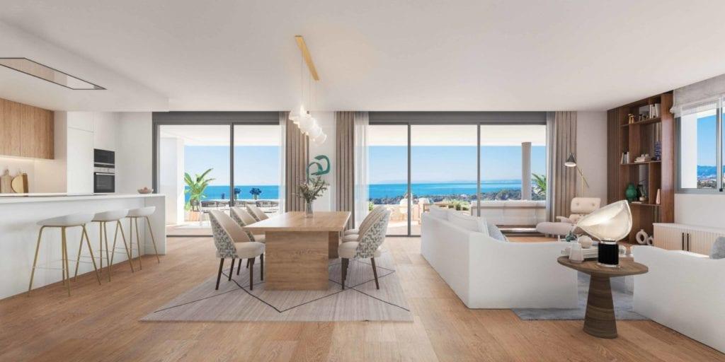 Salon comedor de las viviendas de la promocion Sunshine de AEDAS Homes en su proyecto Soul Marbella