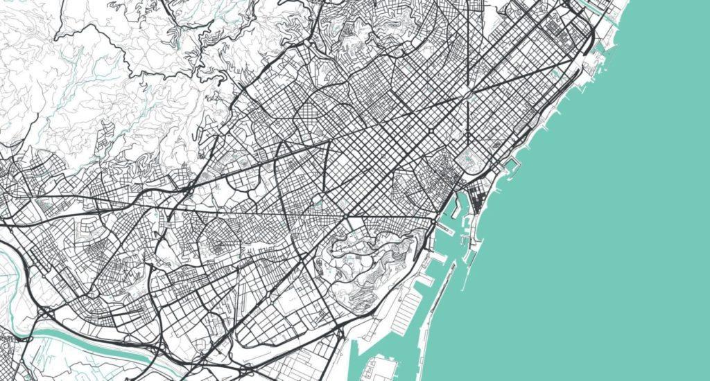 Mapa vectorial de barcelona