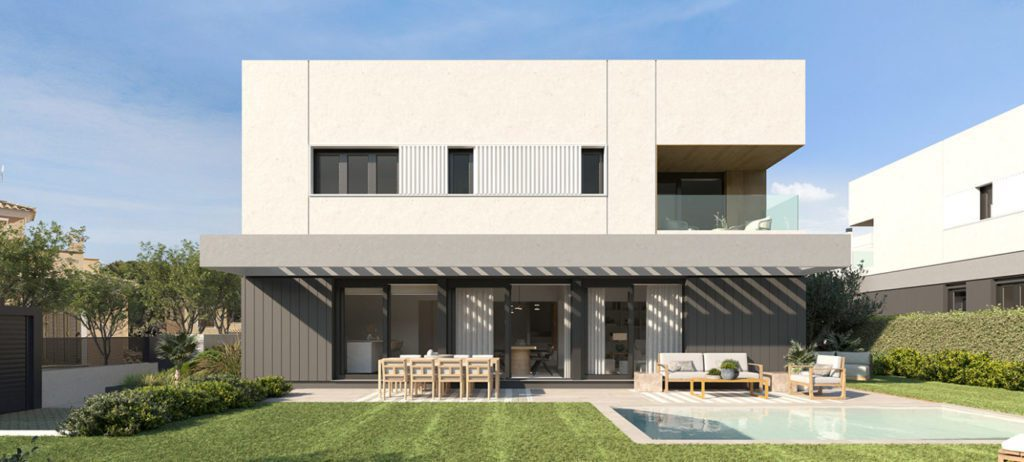Unifamiliar de diseno de la promocion Eneida Views de AEDAS Homes en Llucjamor Mallorca.