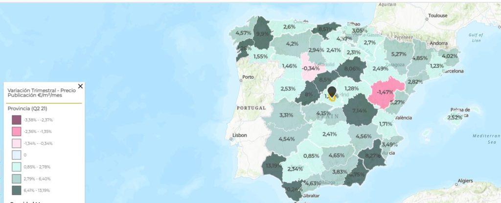 Variacion precios alquiler espana brainsre